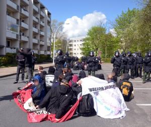 Eine der vielen Blockaden in Neubrandenburg
